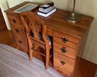 Refinished pine desk and chair $100