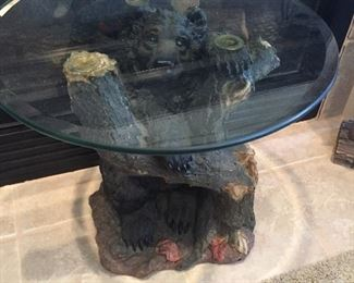 Glass Top Bear End Table...