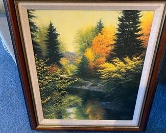Lithographic canvas by Charles H White, Woodland Light