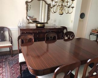 Pre-sale item  - beautiful dining table with duncan fife base with 6 regular chairs and 2 arm chairs -  $950