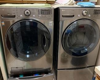 PRE-SALE ITEM  -LG front load washer and gas dryer set only very gently used and in really great condition.   $1250 or $625ea  both including pedestals.