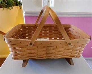 Longaberger Basket with Handles on Rocking Wood Base