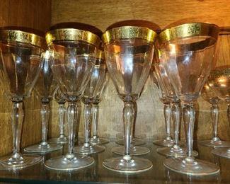 Gold Trimmed Crystal Stemware