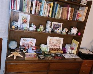 Bookshelf W/ Books & Assorted Figurines