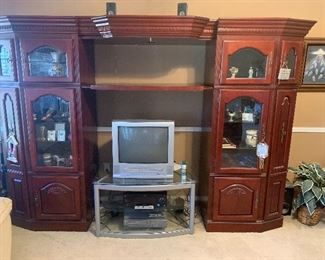 Large mahogany entertainment center, TV stand and small TV