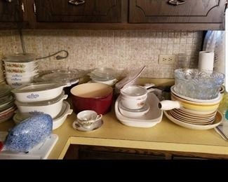 Vintage corning ware and other cookware