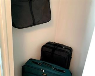 Samsonite Green Canvas Suitcase, Black Rolling Suitcase & Samsonite Folding Garment Bag!