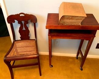 Vintage Rolling Book Stand/Lectern, Cane Bottom Chair & Webster's New International Dictionary 2nd Edition!