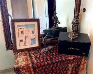 Vintage Woven Rug, Genesis Fine Arts Stag & Pipe Major Sculptures Mullinger, Ireland, Vintage Mirror, Etc!