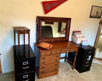 Vintage Dress-o-Desk, Hon Lockable File Cabinet, 2 Drawer File Cabinet, Vintage Columbia Furniture Genuine Mahogany Side Table w/Leather Top, Etc!