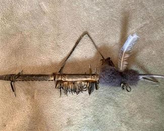 Native American Leather Covered  Peace Pipe!
