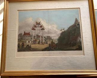 """Framed Print """"View of Pi-Loo"""" Executed by Engraver James Fittler in 1796 from drawing by William Alexander (1767-1816)"""