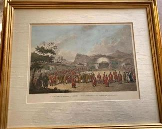 """Framed Print """"Approach of Emperor"""" Executed by Engraver James Fittler in 1796 from drawing by William Alexander (1767-1816)"""