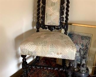 Antique Carved French Renaissance Barley Twist Chair!
