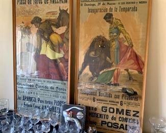 Original Mid-Century Bull Fighting Ad Posters!
