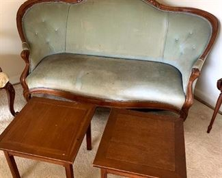 Carved Walnut Frame Victorian Settee, Imperial Furniture Grand Rapids, MI. Side Tables!