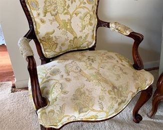 Vintage French Provincial Wood Carved Armchair!