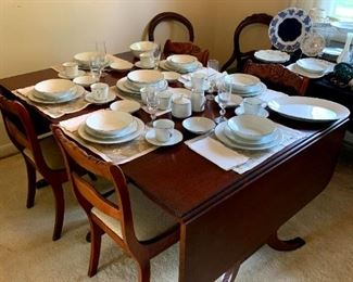 """""""The Watertown Slide"""" Solid Wood Duncan Phyfe Style Drop Leaf Table w/2 Leafs Watertown, WI,  Milne Chair Co Chattanooga, TN Carved Wood Dining Chairs &Vintage Accent Table!"""
