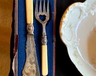 Vintage Filagree Fish Serving Set w/Original Case!
