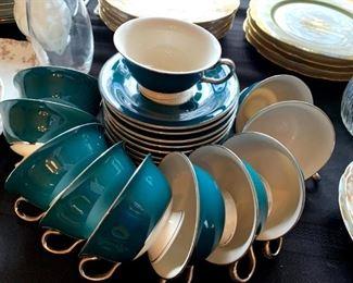 Beautiful Jade Cups & Saucers 10 Pc Set!