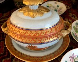 Italian Lowestoft Reproduction created by Mottahedeh Soup Turin & Platter!