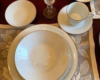 """Close Up of 1963 Noritake """"Reina"""" China 51 Pc Set, Beautiful White on White Pattern!"""