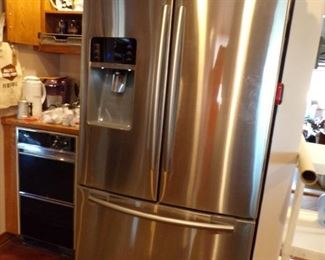 2 year old refrigerator, stainless steel
