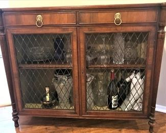 Antique Bar Style Cabinet with Lion Head Drawer Pulls