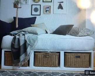 Pottery Barn White Double Bed with Storage