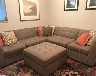 "L Shaped Sectional, Taupe, with Ottoman.  approx 100""x100"""