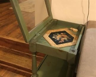 "Antique Table with Glass Door On Top. Shelf inside. 15""x22""x30"" High"