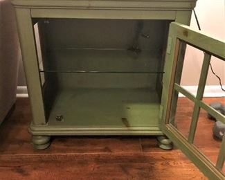 "Antique Green End table with Front Door and 2 shelves.  25""x16"""