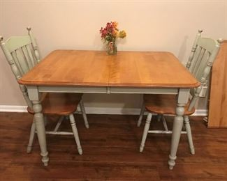"Bermex International Kitchen Table.  Farm Table Style. Wayfair. 6 Chairs included.  Table is 48""x36"" without leaves.  2 leaves included @ 10"" each"
