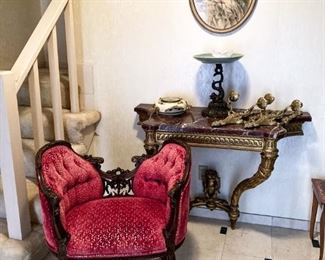 Gorgeous Small Bench and Antique Rouge Marble and Gilt Console Table