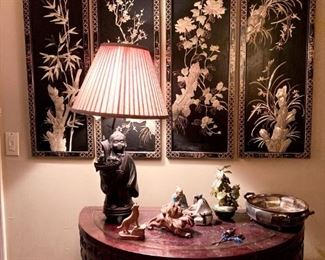 One of Several Chinese Panel Screens, Chinese Demilune Table, Bronze Chinese Figural Lamp