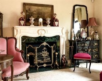 The Living Room is Filled! Brass Fire Place Screen, Drexel Japanned Chest and Mirror, Antique Carved Furniture and more!