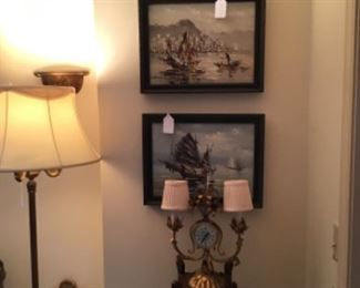 Two Paintings by Dang $95 each, Vintage Mahogany Three Tier Stand $38, Gilt Metal Sconce with Clock $65