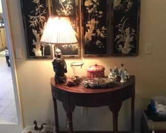 Chinese Demilune Table $395, Four Panel Wall Screen $80, Bronze Figural Lamp $65