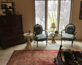 Pair of Antique Louis XVI Style Chairs $550 / Pair, Italian Gilt Wheat Table $125, Onyx Elephant Side Table $250