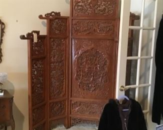 Large Hand Carved Chinese Five Panel Screen $950