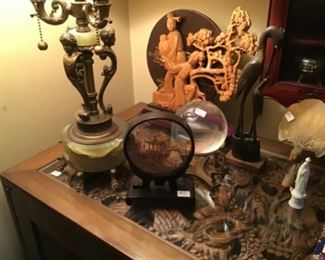 Cork Diorama $8, Lamp with onyx base $90 Wood Sculpture $15