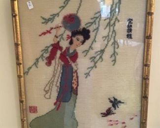 One of Two Vintage Needle Panels $48 each