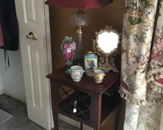 Mahogany Stand $38, Hand Painted Porcelain $10 to $20 each, Vanity Mirror $25, Lamp $48
