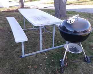 Folding Picnic Table Weber Grill