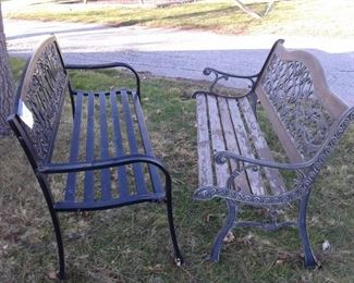 Two Park Benches Beautiful Hummingbird Welcome