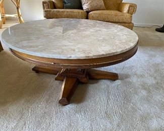 Marble topped round coffee table