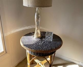 Wicker/rattan side table; lamp