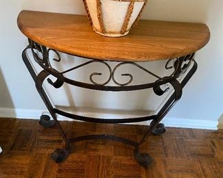 Wood and wrought iron half moon table