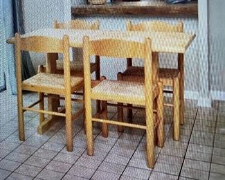 rectangular wooden small table with 4 chairs