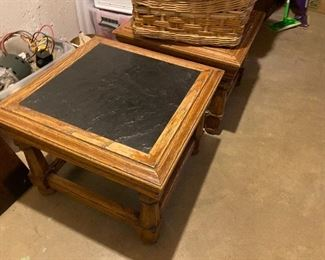 vintage end tables; slate tops